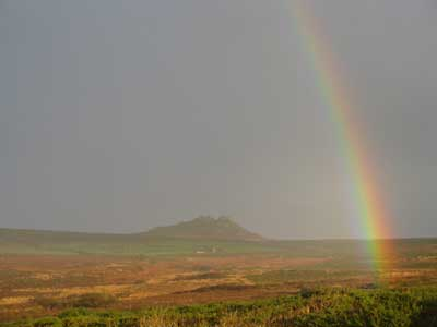 Rainbow over Carn Galver, Penwith Moors, Cornwall, Photograph by Jayne Herbert