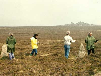 CEMG members dowsing at Tregeseal Circle (1992)